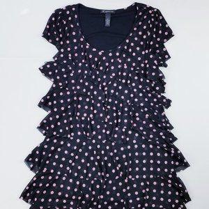 INC Ruffle Tired Black Pink Dot Knee High Dress M